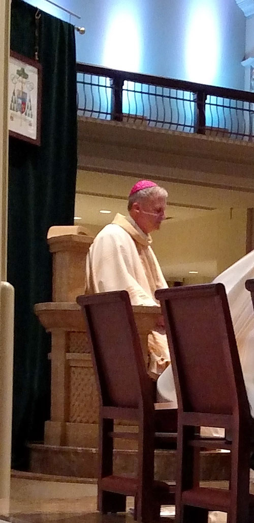 Bishop Johnston seated in his cathedra (chair of authority) with his coat of arms displayed behind him.