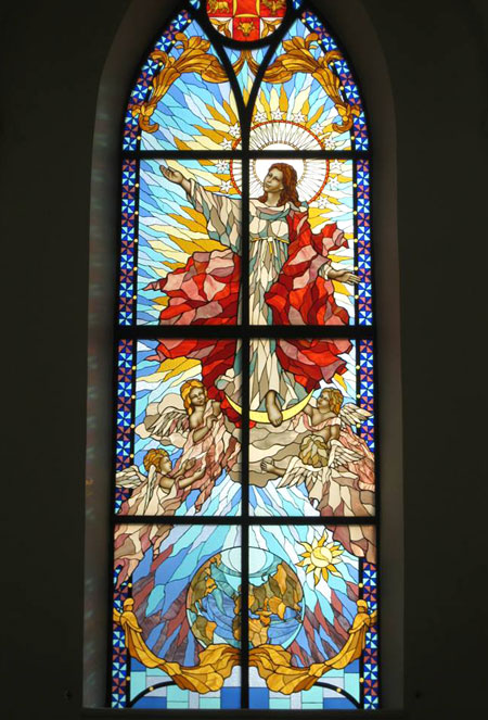 Stained Glass image of the Assumption of the Blessed Virgin Mary