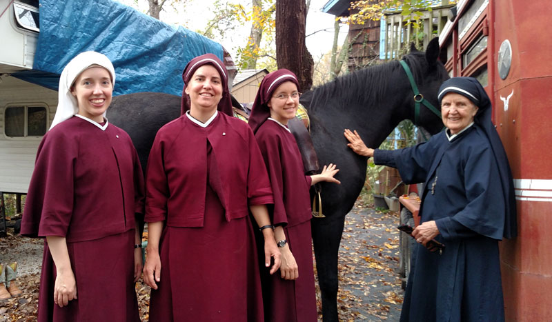 The Sisters in Kansas City went horseback riding at a parishioner's home.