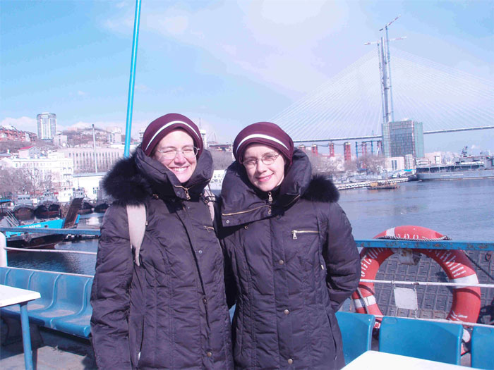 sisters on ferry